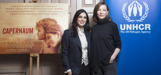 Director NADINE LABAKI & UNHCR Goodwill Ambassador CATE BLANCHETT at a UNHCR London screening of CAPERNAUM